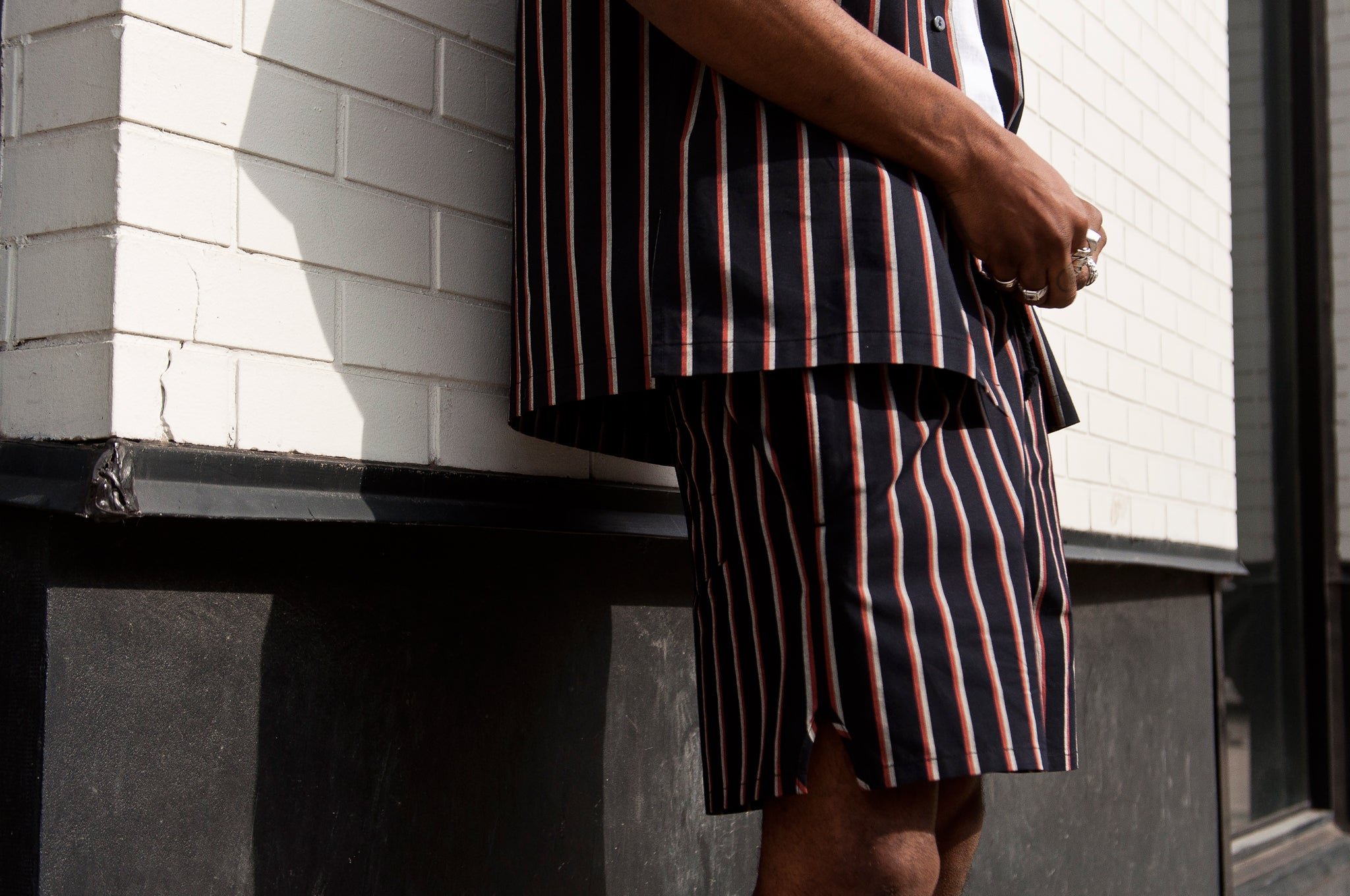 S.K. Manor Hill N/O Stripe MT Short Orange/Navy at shoplostfound