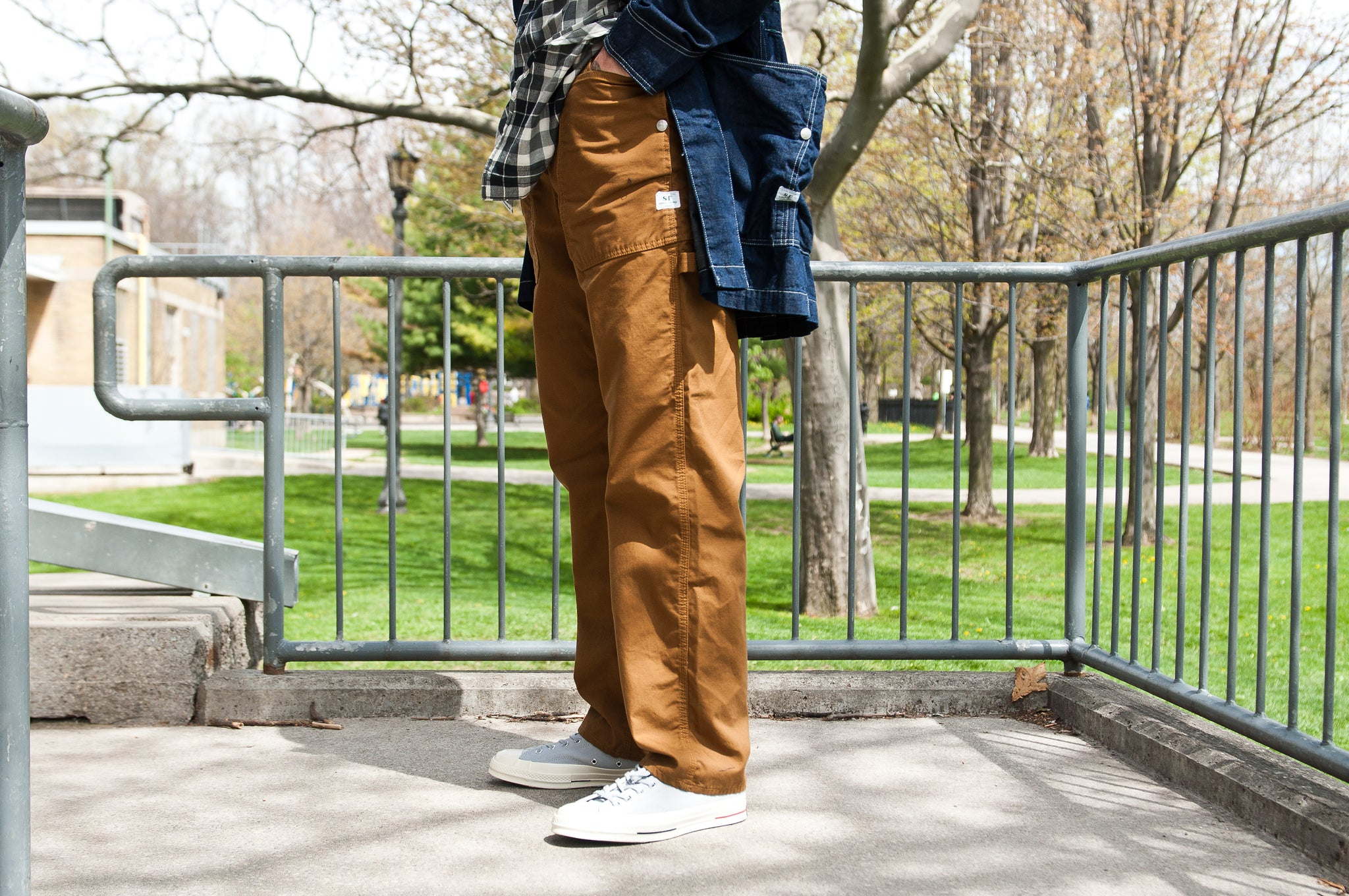 Sassafras Fall Leaf Gardener Pant Brown Oxford at shoplostfound