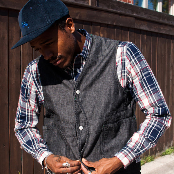 Sassafras Fall Leaf Gardener Vest Black at shoplostfound Preview