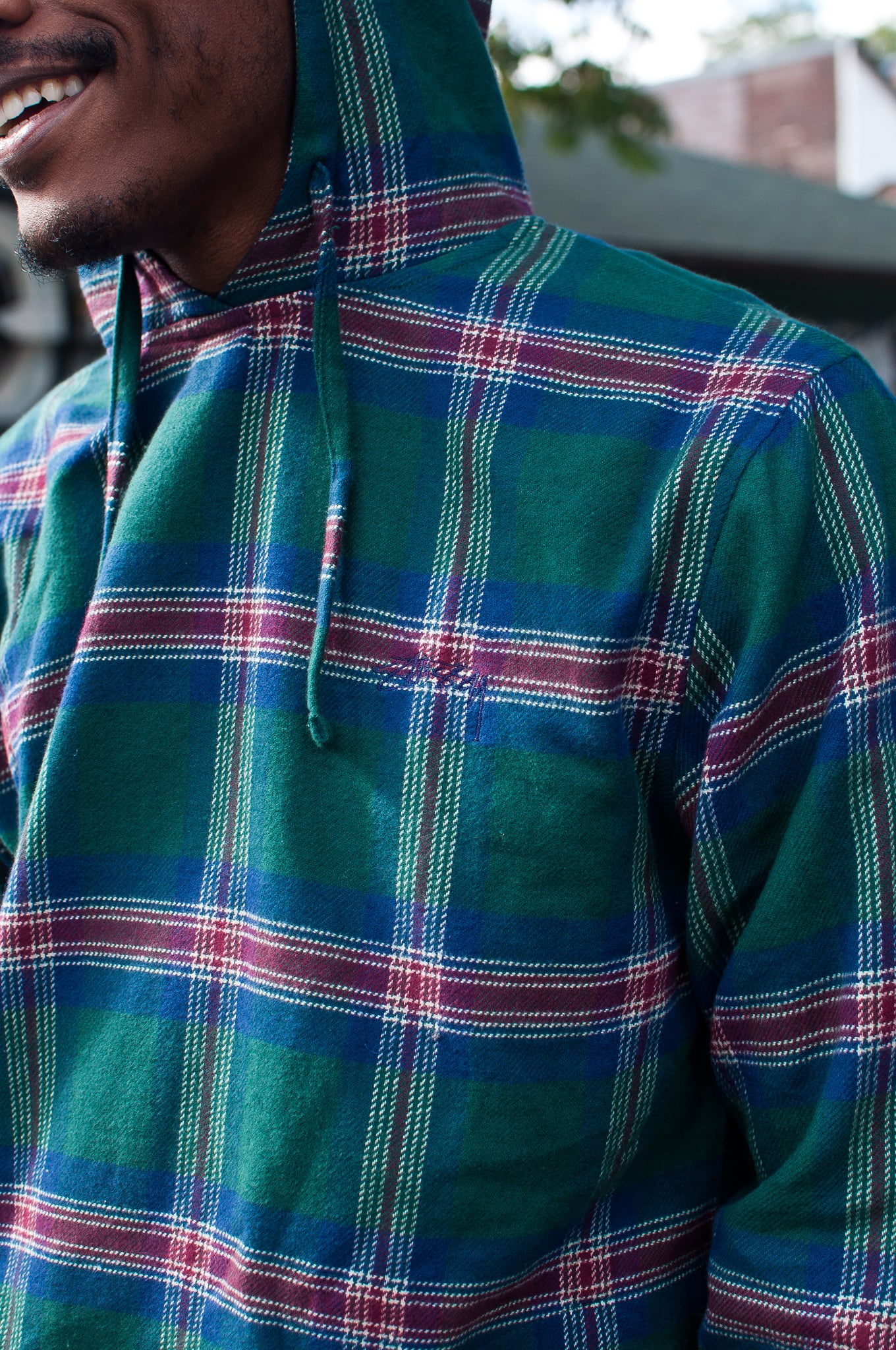 Stüssy Hooded Plaid Poncho Green at shoplostfound 2
