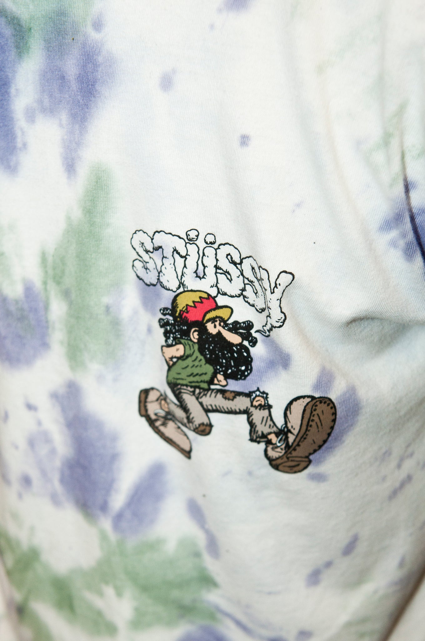Stüssy Mr. Natty Tie Dye Shirt White/Purple at shoplostfound
