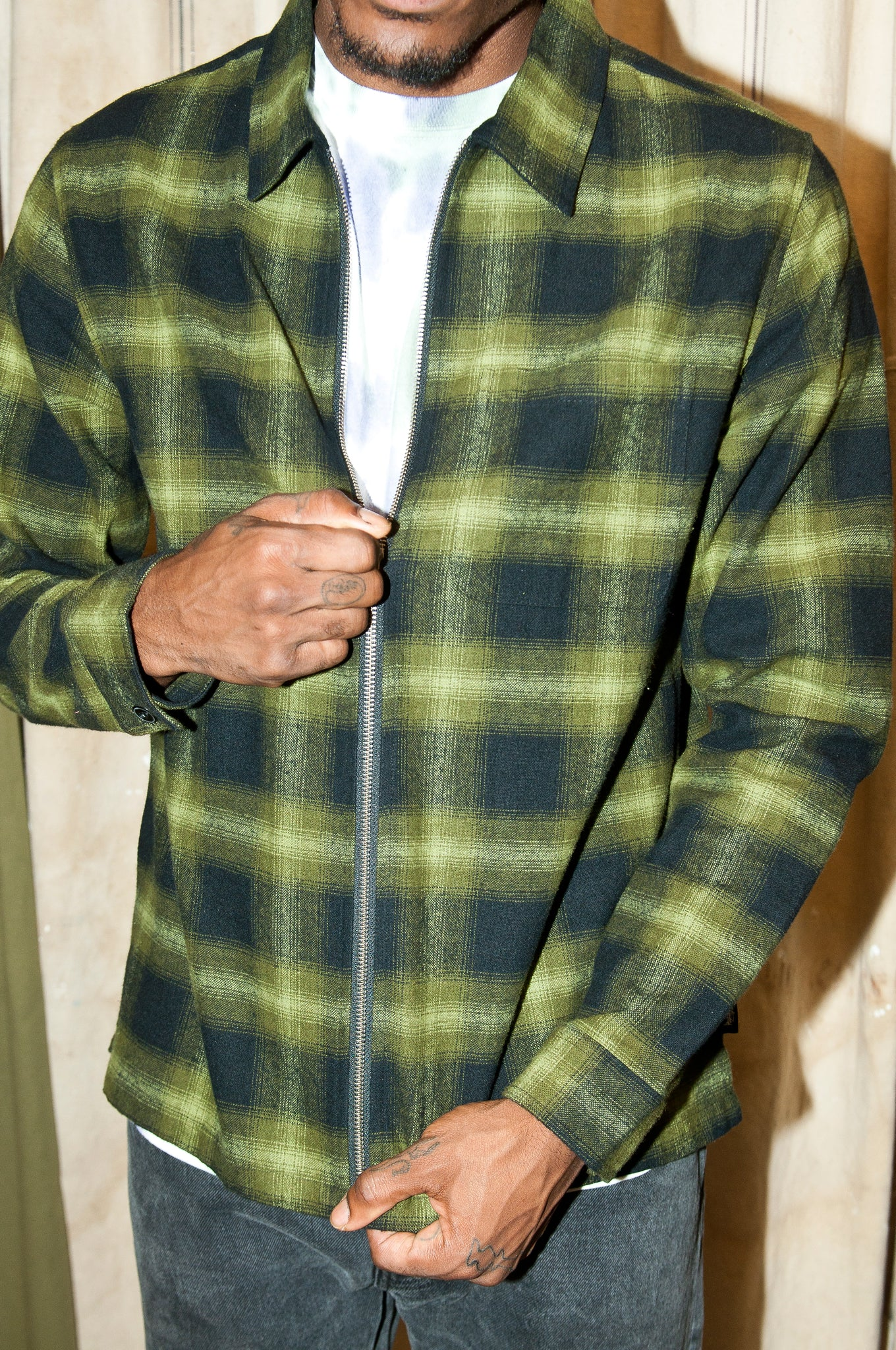 Stüssy Zip Up Shadow Plaid L/S Shirt Green at shoplostfound 3