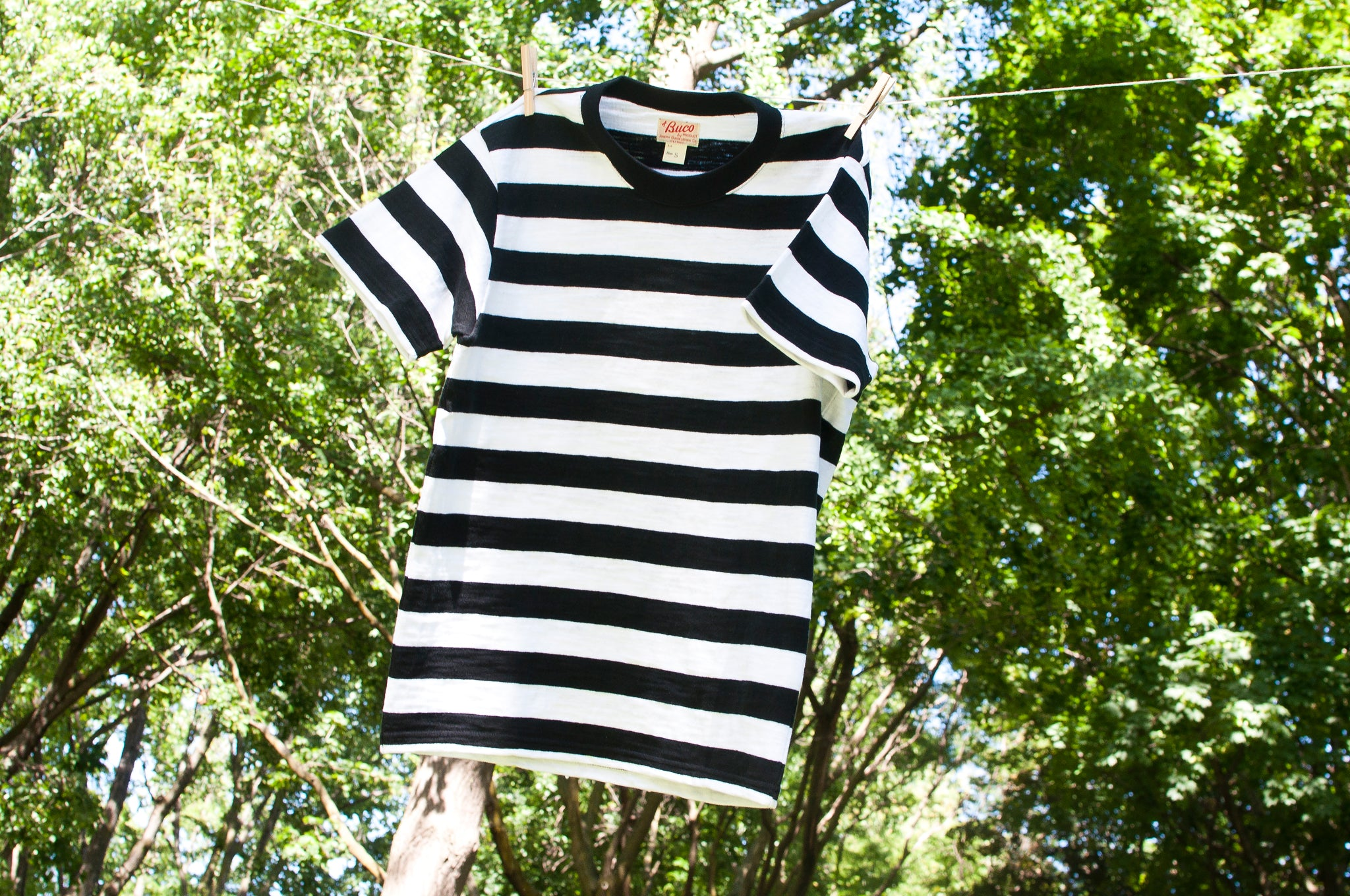The Real McCoy's Buco Striped Tee Black/White at shoplostfound