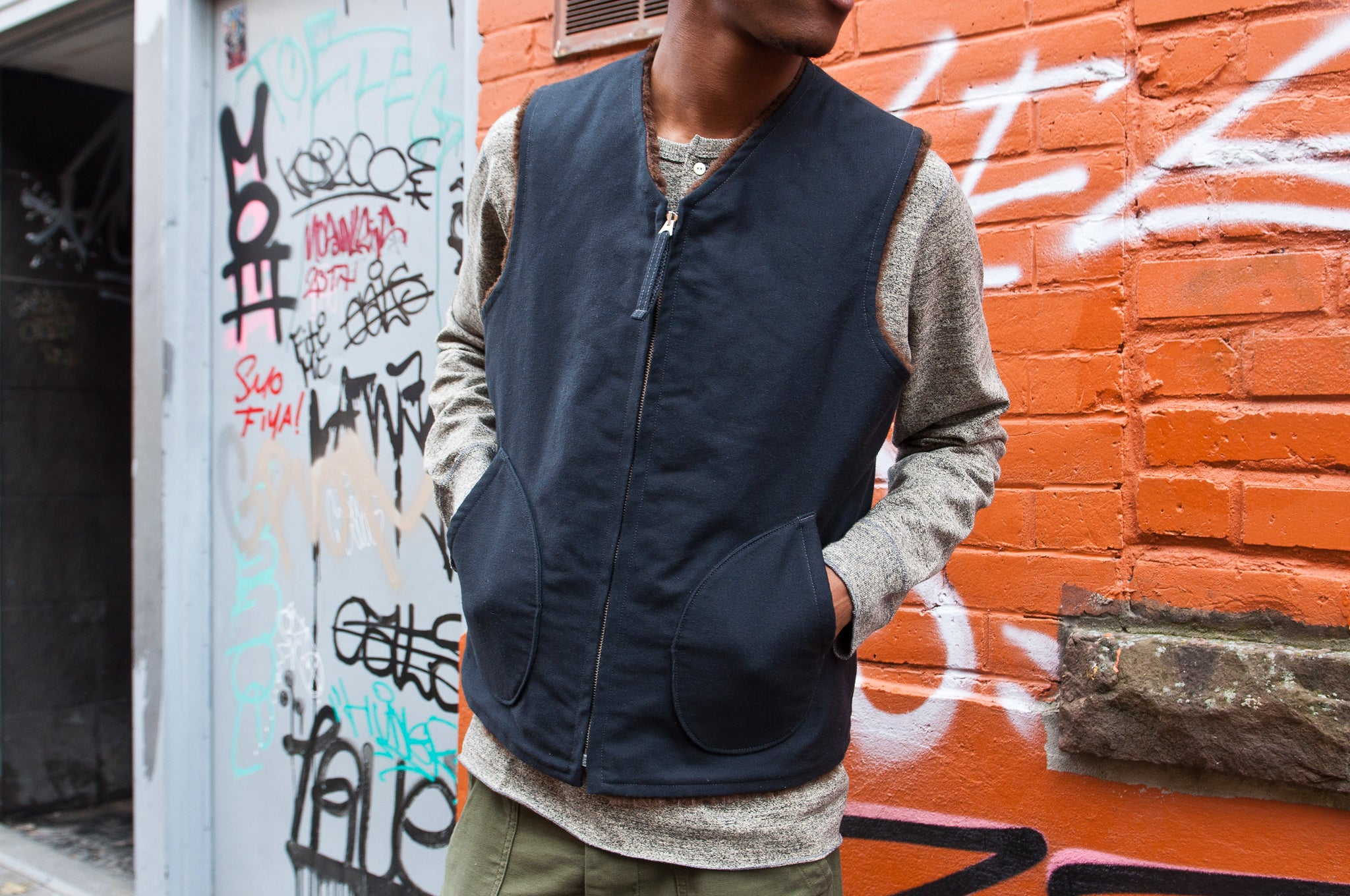 The Real McCoy's MJ15109 Alpaca Vest Navy at shoplostfound, 3
