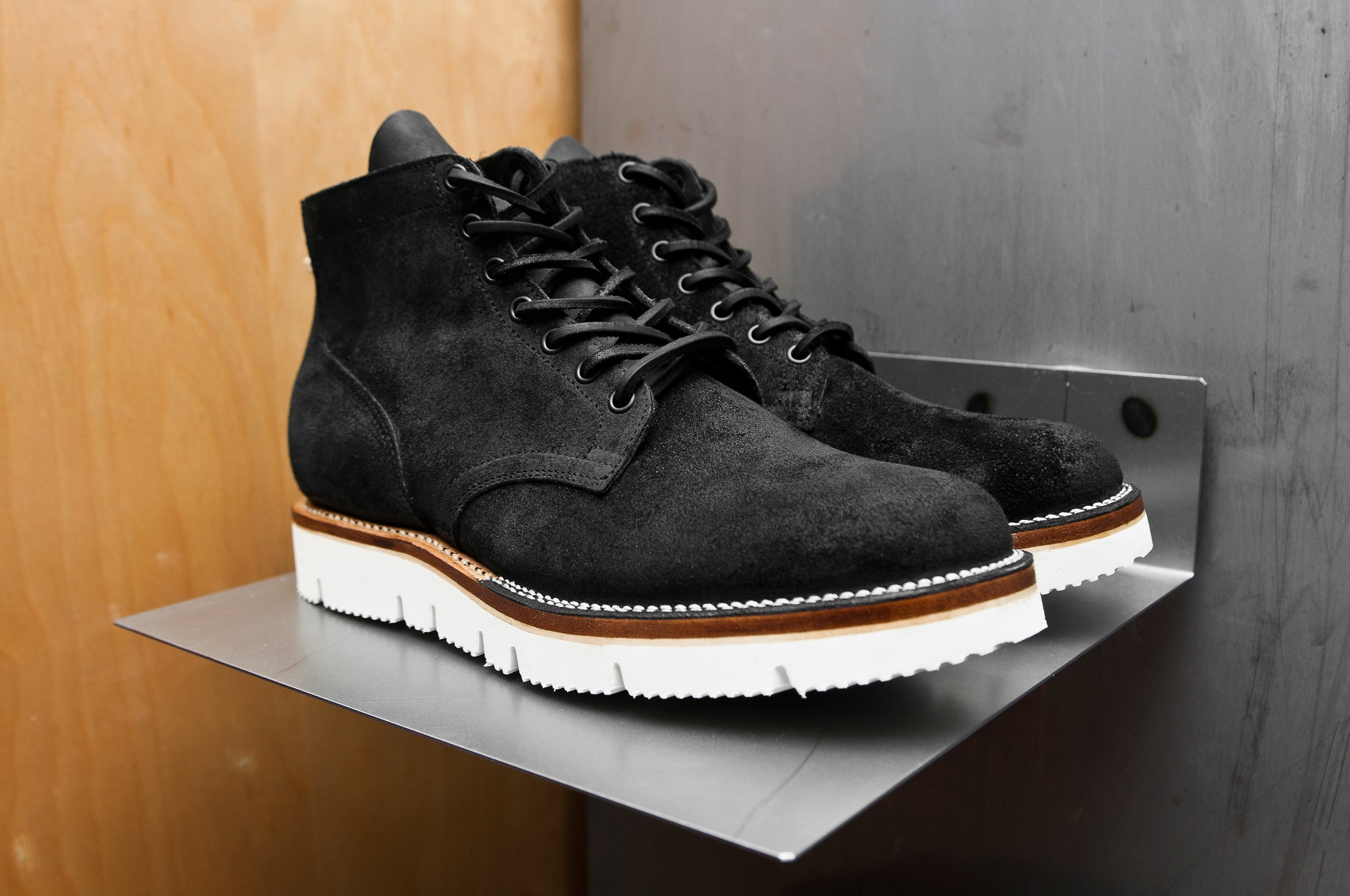 Viberg Charcoal Chamois Roughout Service Boot at shoplostfound 1