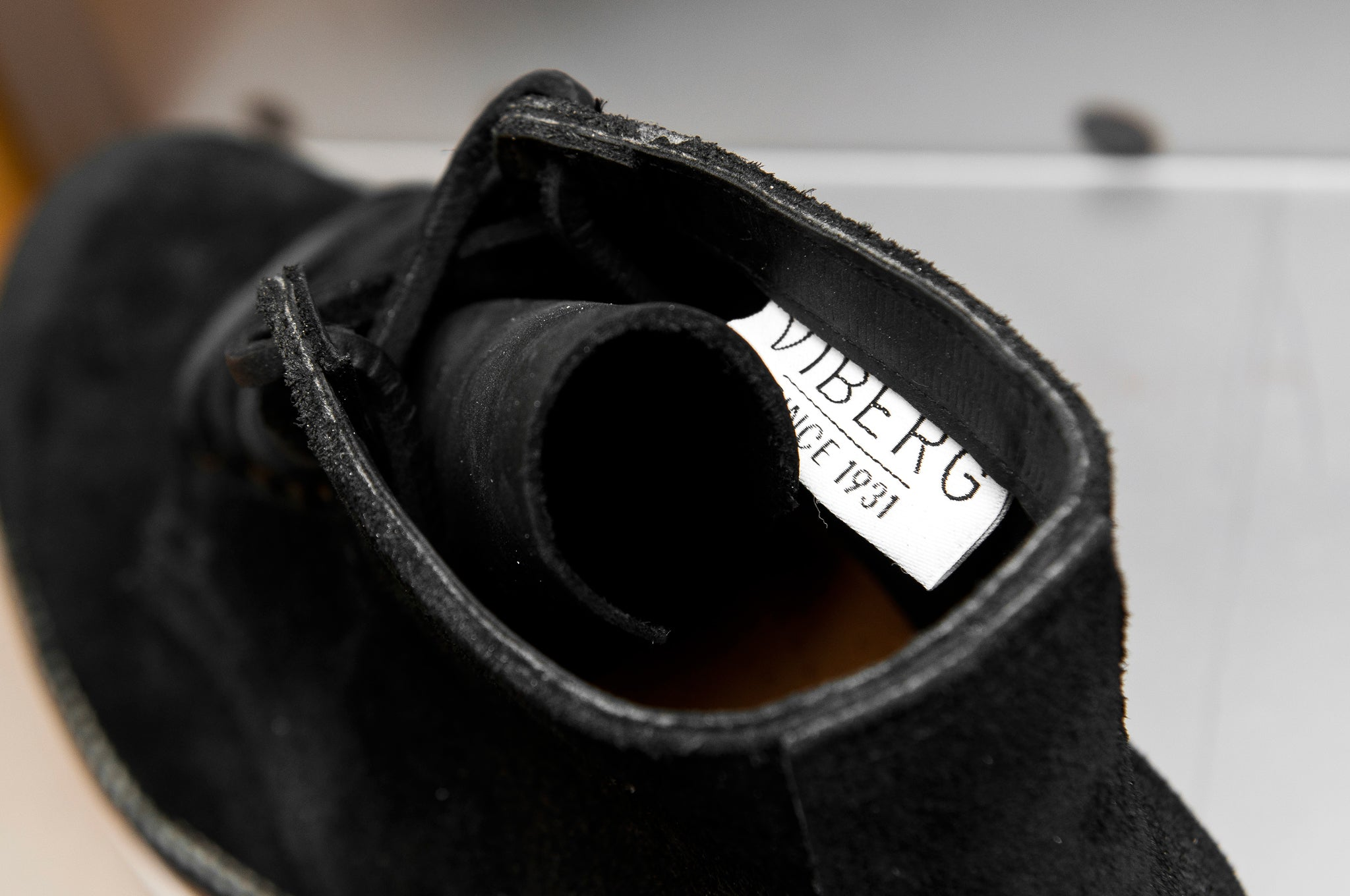 Viberg Charcoal Chamois Roughout Service Boot at shoplostfound 6