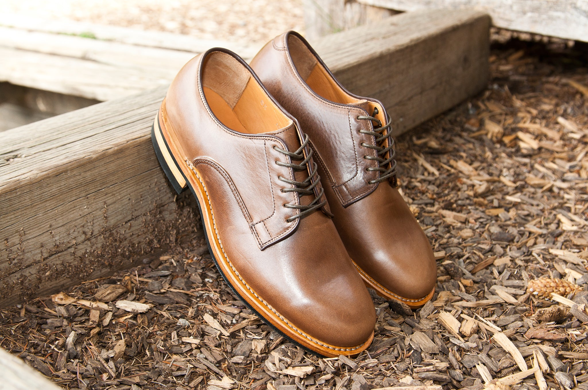 Viberg Natural Chromexcel Derby Shoe at shoplostfound 1