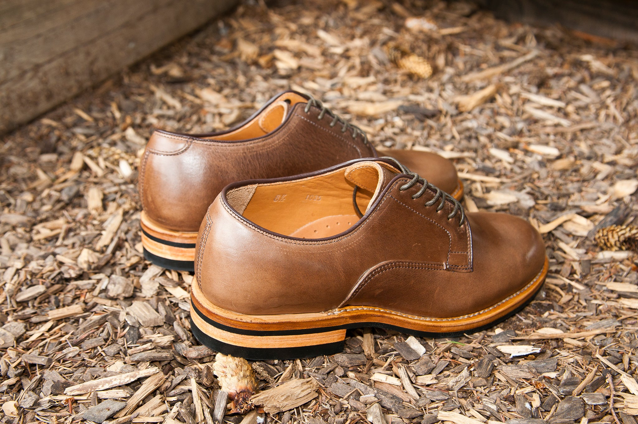 Viberg Natural Chromexcel Derby Shoe at shoplostfound 5
