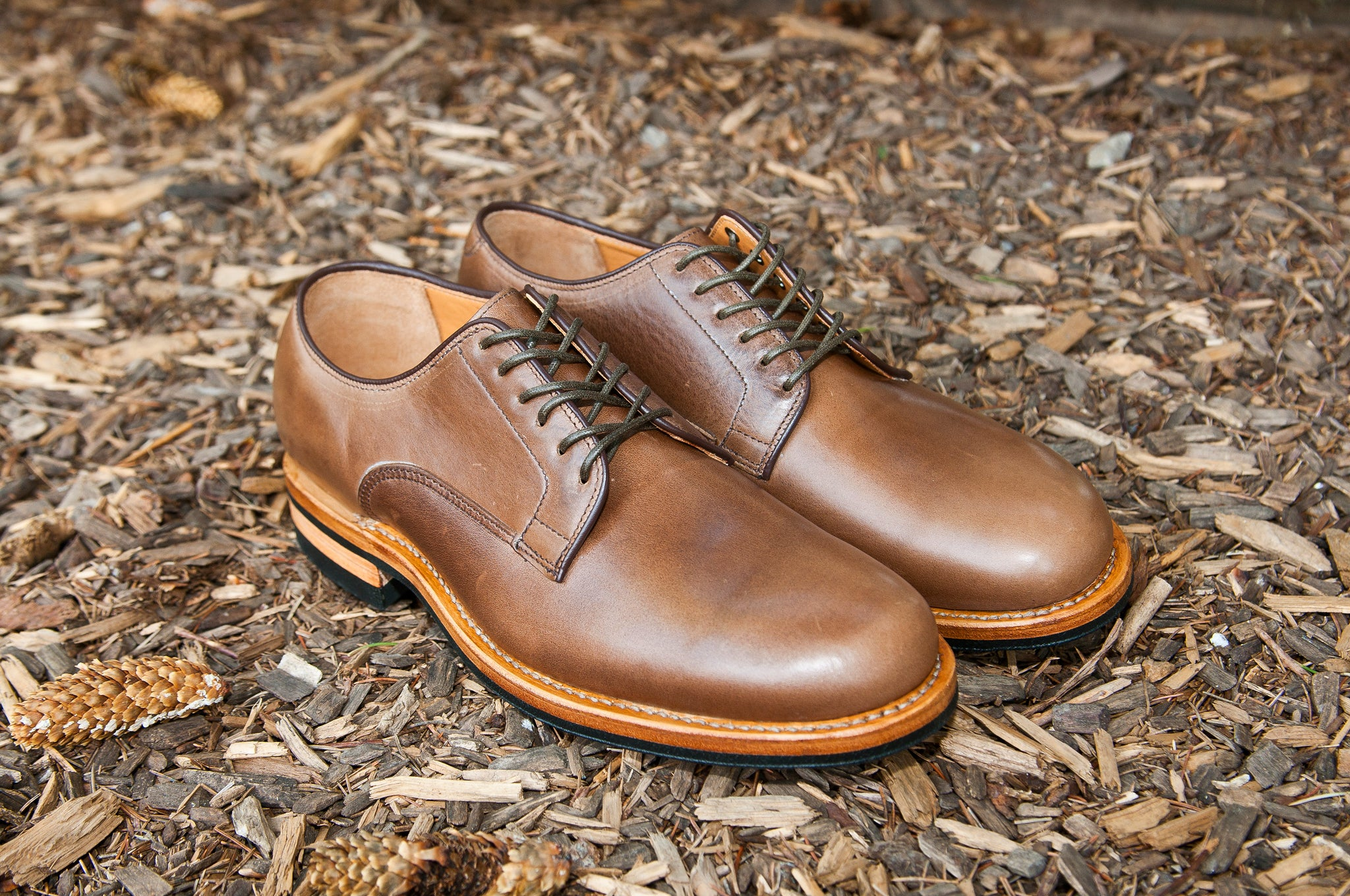 Viberg Natural Chromexcel Derby Shoe at shoplostfound 6