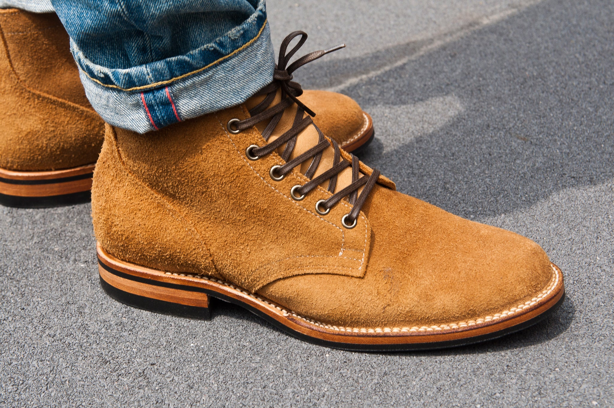 Viberg Sand Nubuck Roughout Service Boot at shoplostfound 4