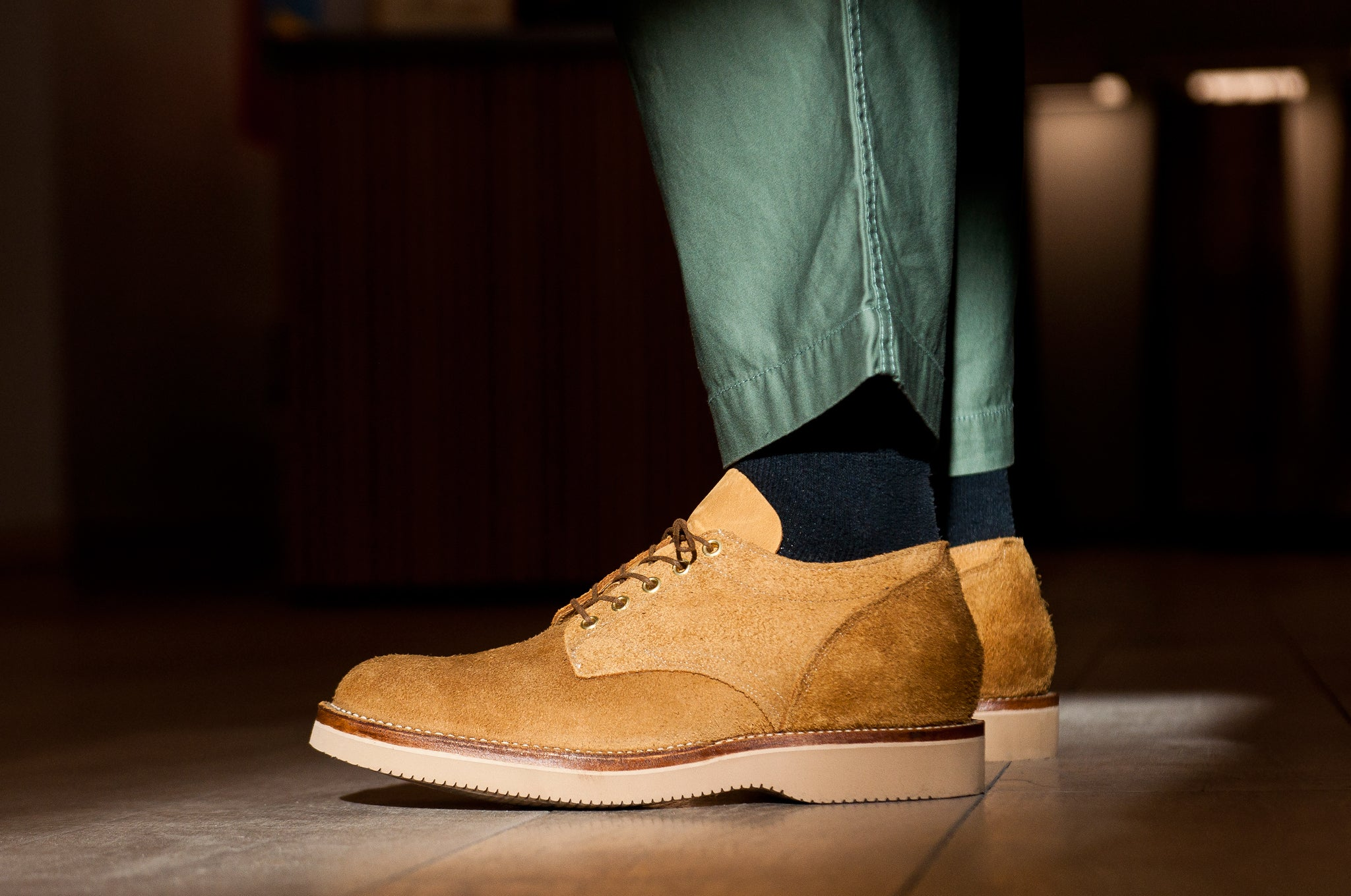 Viberg Wheat Oxford Roughout at shoplostfound 1