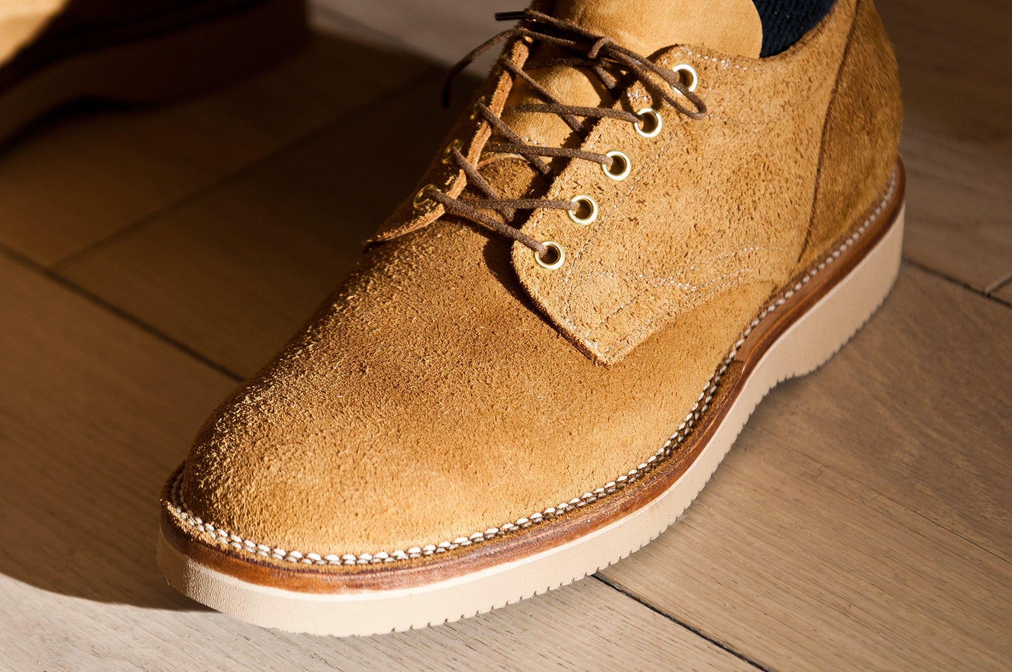 Viberg Wheat Oxford Roughout at shoplostfound 2