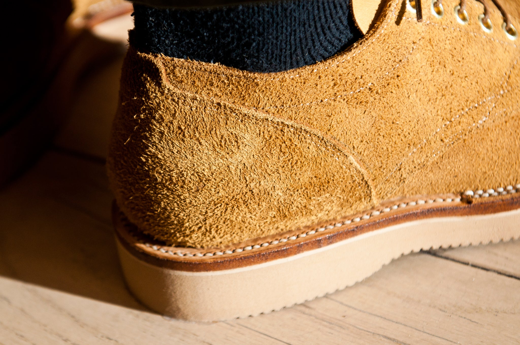Viberg Wheat Oxford Roughout at shoplostfound 3