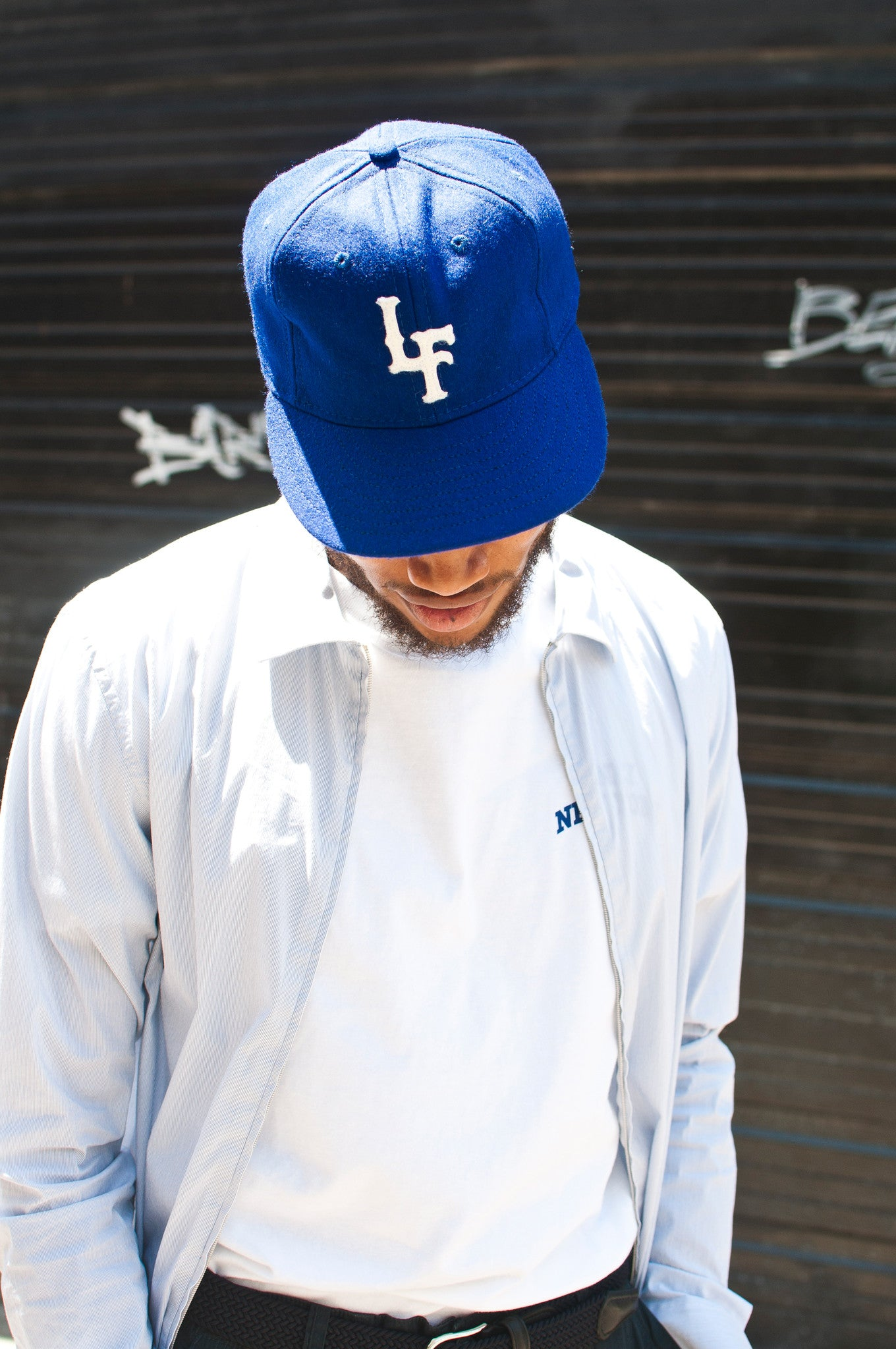 Ebbets Field Flannels L&F Royal Blue Wool 6 Panel with Brown Leather at shoplostfound