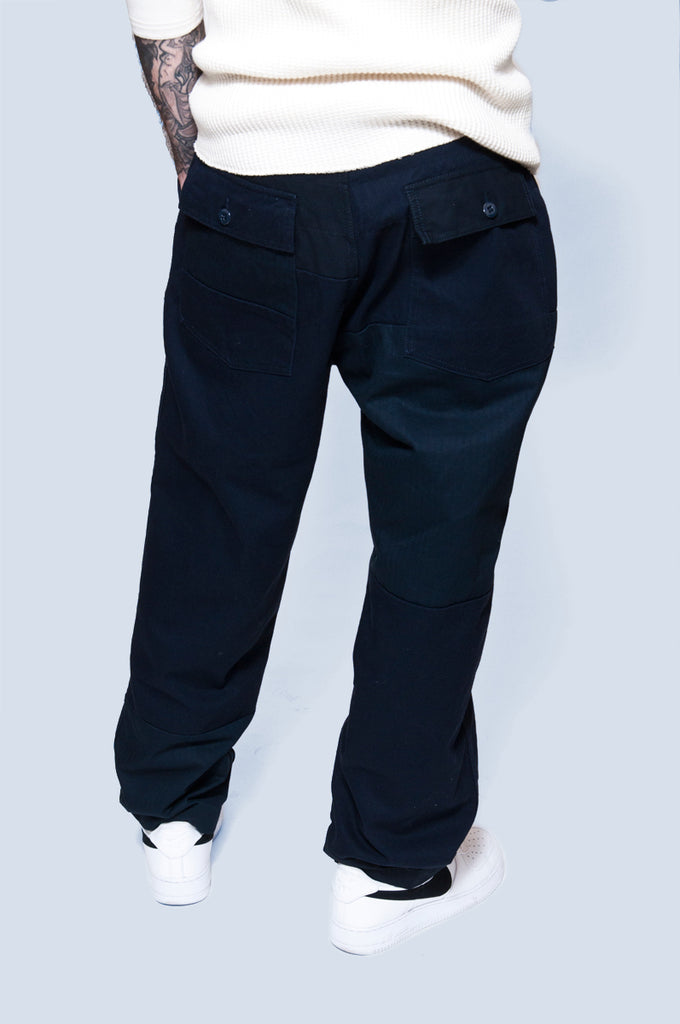 Engineered Garments Fatigue Pant DK. Navy Cotton Heavy Twill at shoplostfound 2