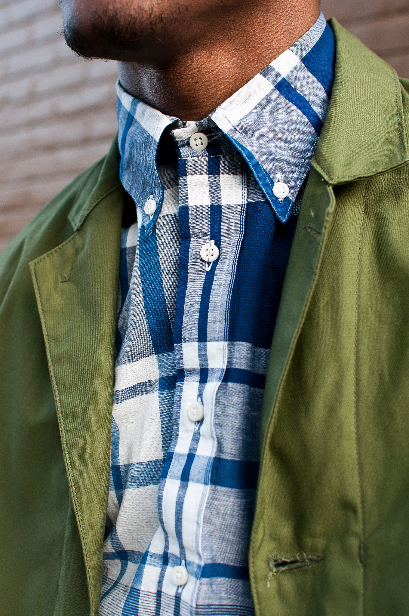 Gitman Vintage Bros Blue White Big Check Madras Shirt at shoplostfound