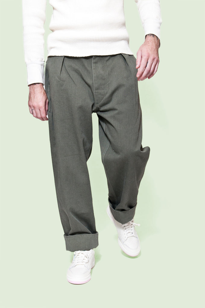MHL Wide Hem Trouser Soft Cotton Drill Olive at shoplostfound 1