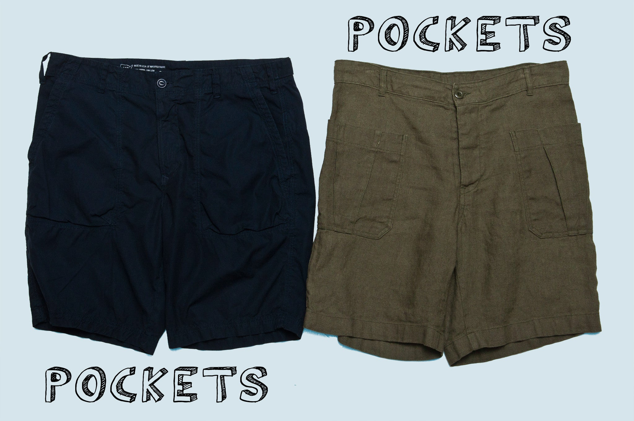 Save Khaki United Fatigue Shorts and Arpenteur Olona Plain Weave Shorts