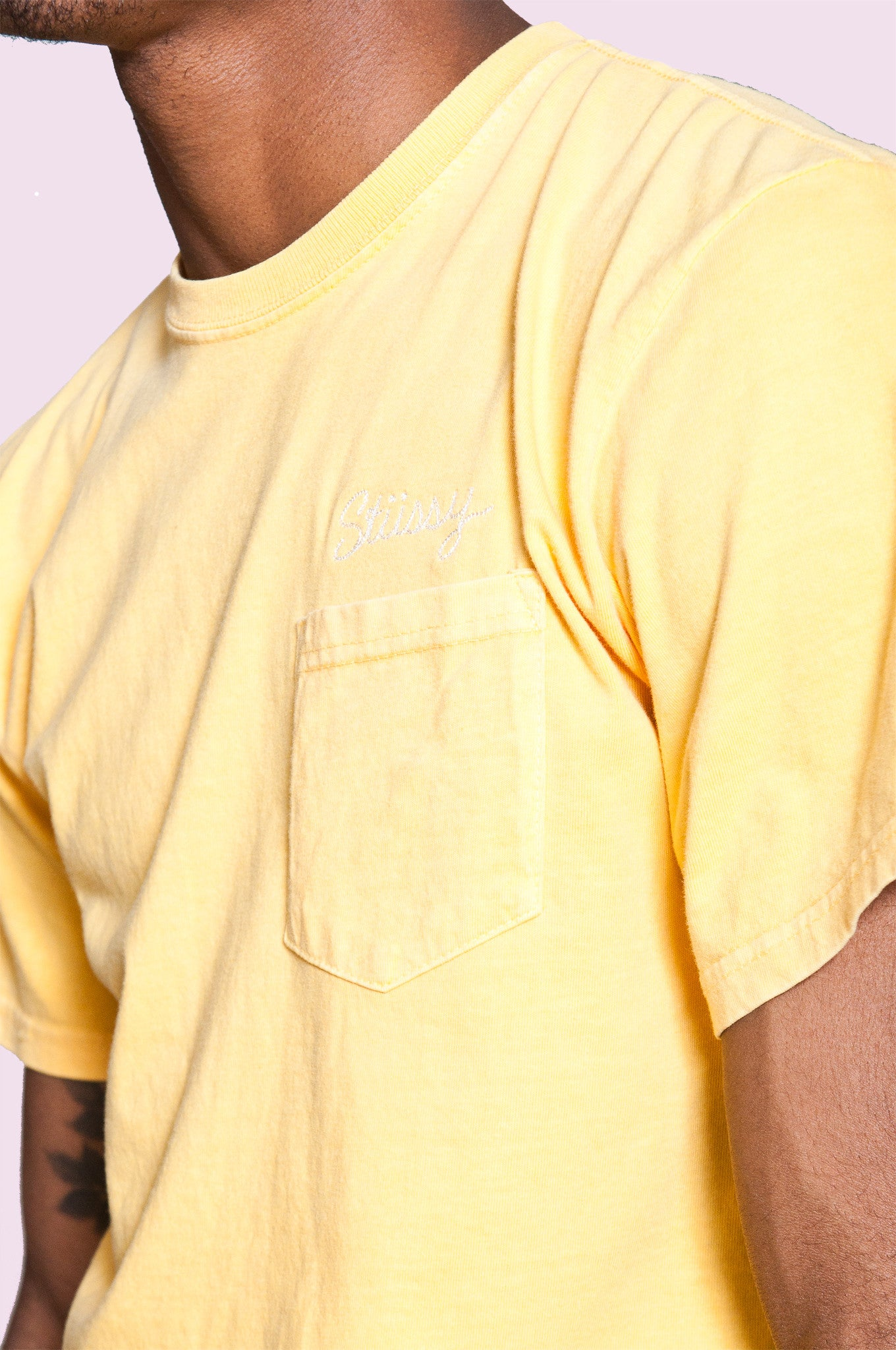 Stussy Stitch Pigment Dye Pocket Tee Yellow at shoplostfound 2