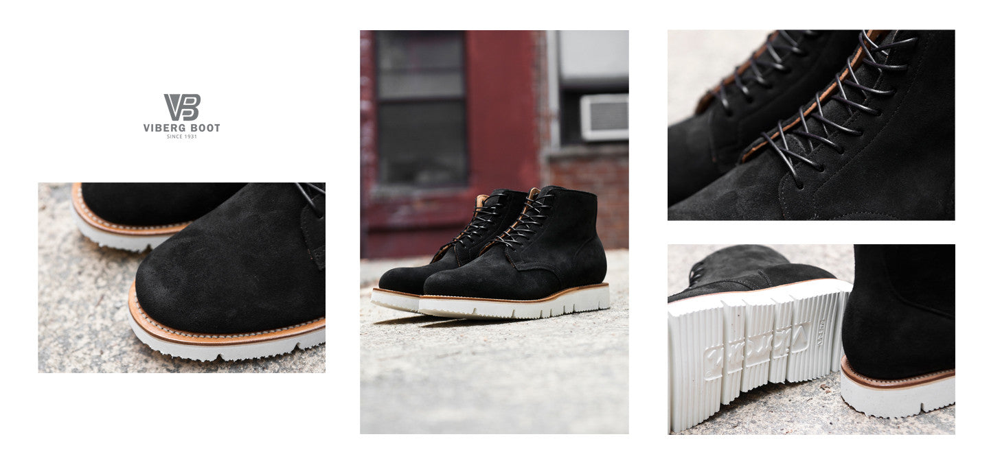 Viberg Black Calf Suede Service Boots at shoplostfound