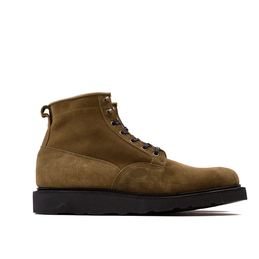Viberg Scout Boot Bamboo Calf Suede at Shoplostfound in Toronto, profile