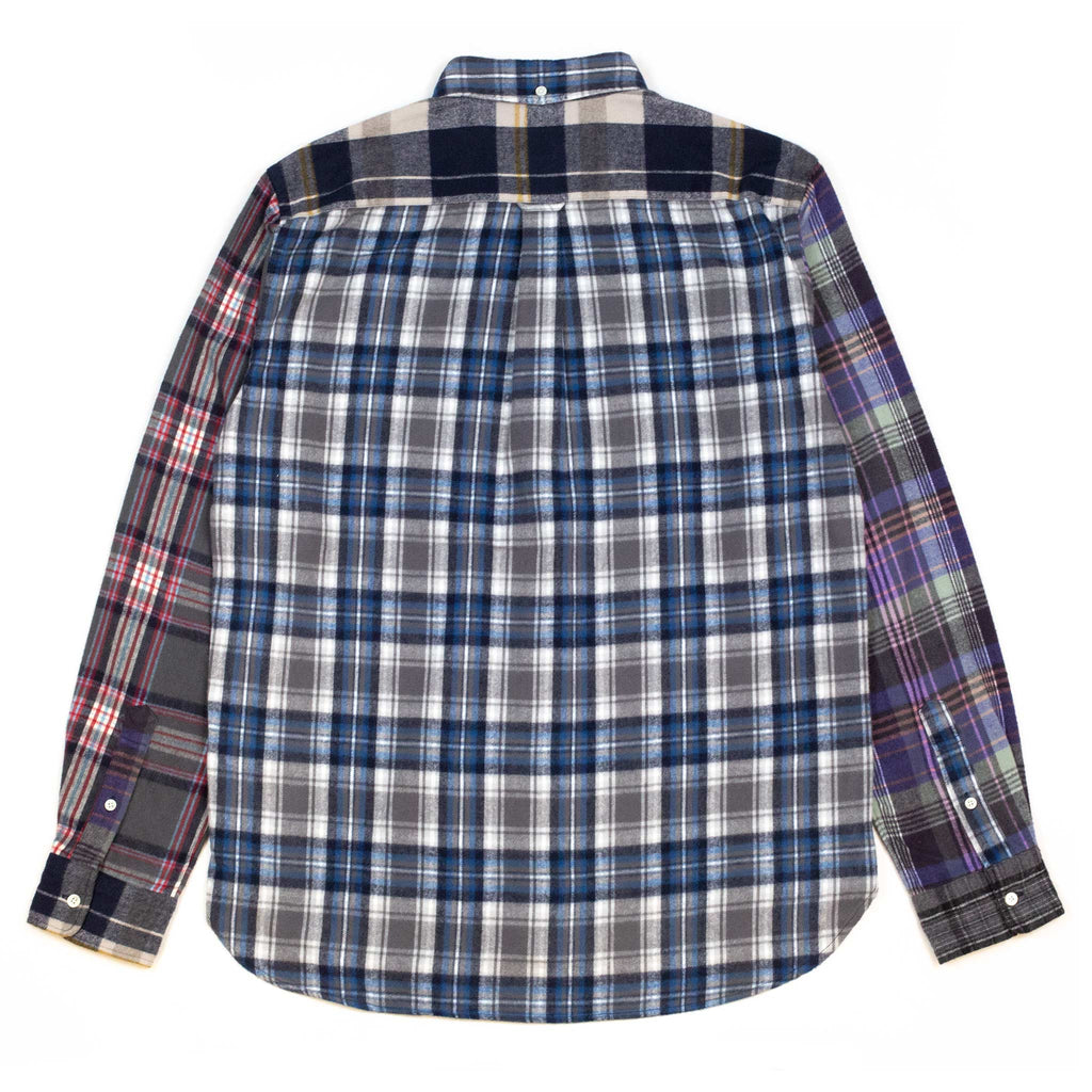 Beams-Plus-B.D.-Multi-Pattern-Shaggy-Check-Shirt-Back-Flat