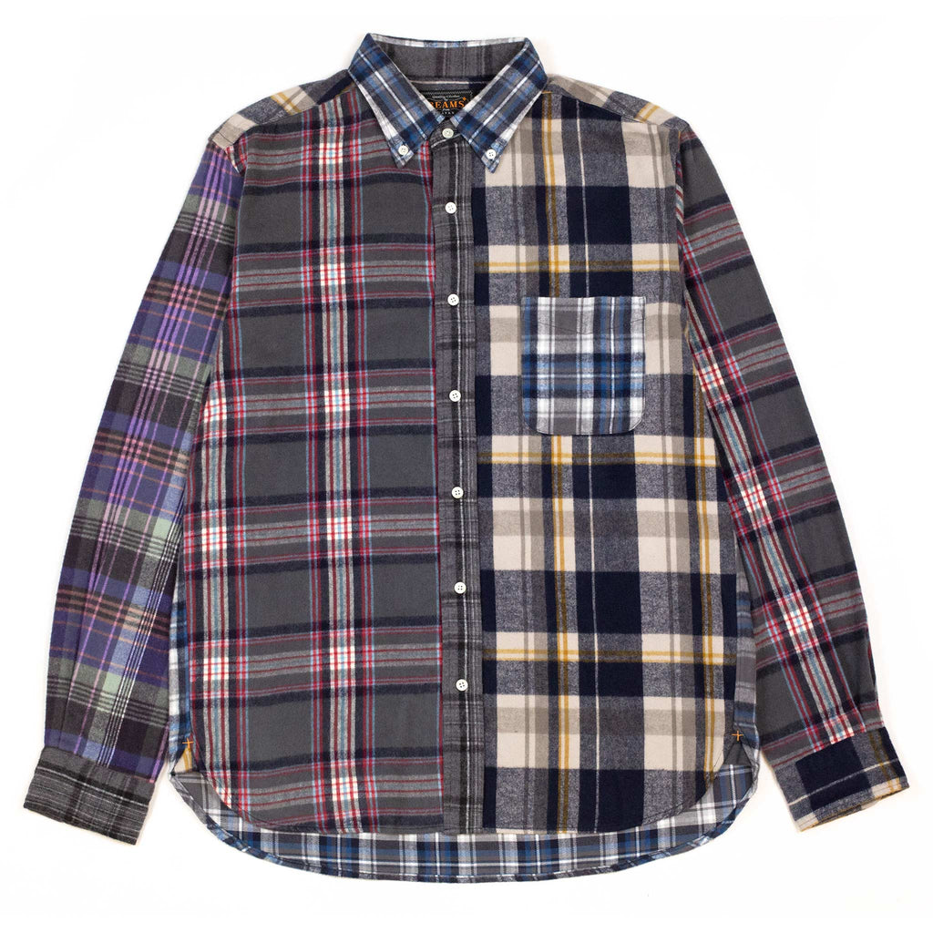 Beams-Plus-B.D.-Multi-Pattern-Shaggy-Check-Shirt-Front-Fla