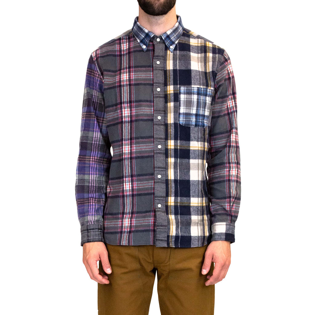 Beams-Plus-B.D.-Multi-Pattern-Shaggy-Check-Shirt-Model-fit-front