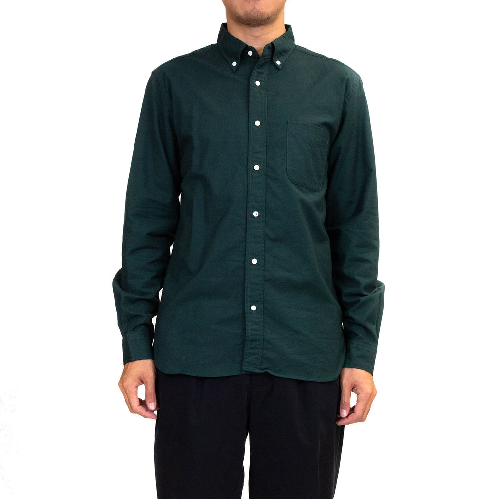 Beams-Plus-Colour-Oxford-Button-Down-Shirt-Green-Model-fit-front