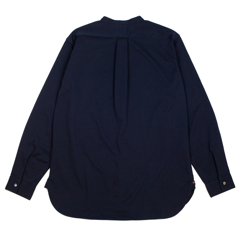Beams-Plus-Knit-Shirt-Band-Collar-Pullover-Stripe-Shirt-Navy-Back-Flat