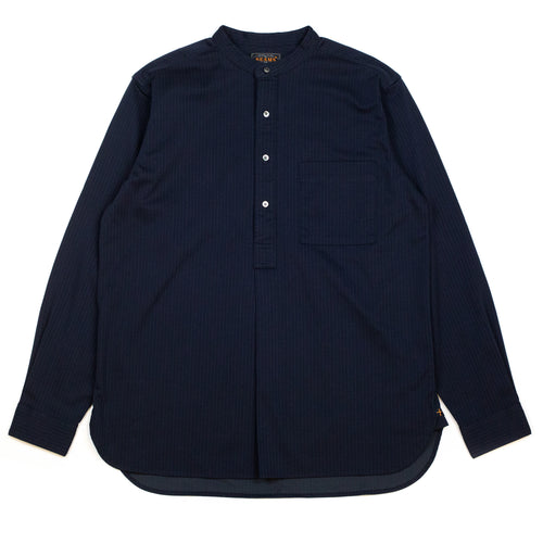 Beams-Plus-Knit-Shirt-Band-Collar-Pullover-Stripe-Shirt-Navy