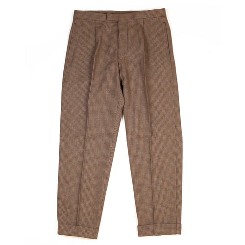 Beams-Plus-Travel-Trousers-1Pleat-Tweed-Brown-Front-Flat