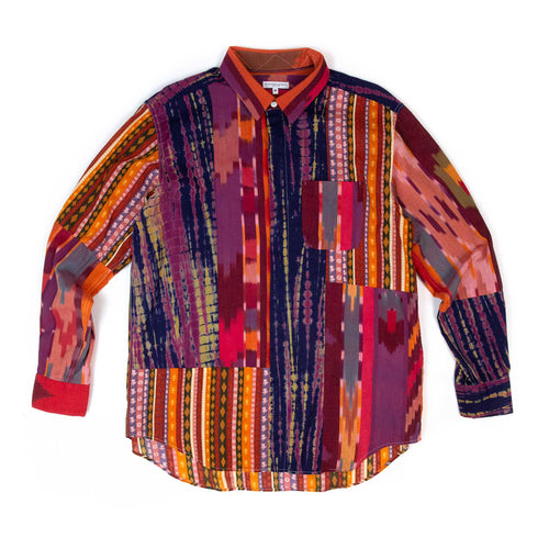 Engineered Garments Combo Short Collar Shirt Red Orange Cotton Ikat