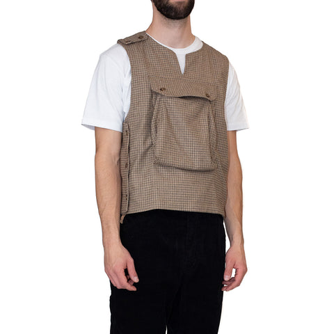 Engineered Garments Cover Vest Brown Wool Poly Gunclub Check