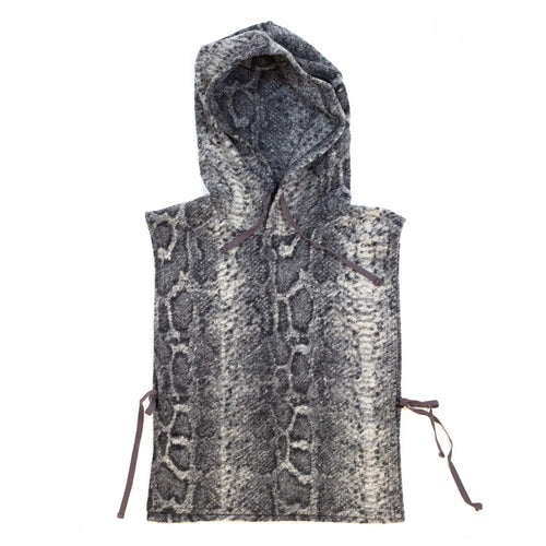 Engineered Garments Hooded Interliner Grey Poly Wool Snake Print Knit
