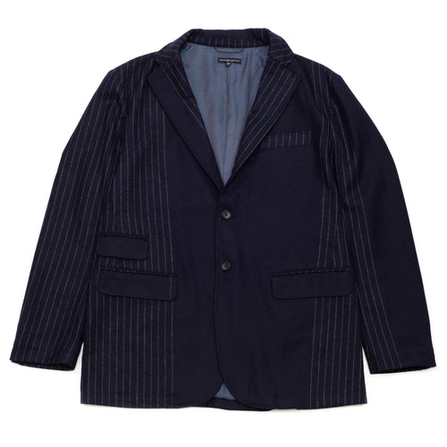 Engineered Garments Lawrence Jacket Dark Navy Wool Chalk Stripe