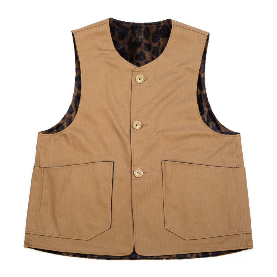 Engineered Garments Over Vest Brown Cotton Herringbone Twill