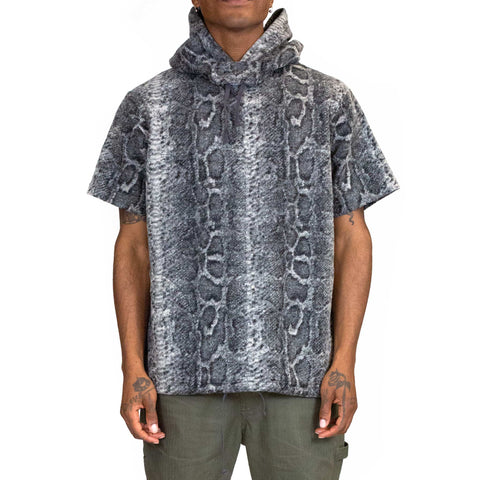 Engineered-Garments-Short-Sleeve-Hoody-Grey-Poly-Wool-Snake-Print-Knit-Front-Flat