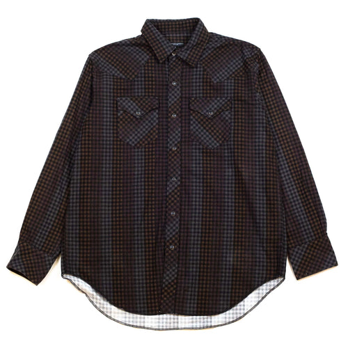 Engineered-Garments-Western-Shirt-Black-Brown-Flannel-Print-Dark-Check-Flat-Front