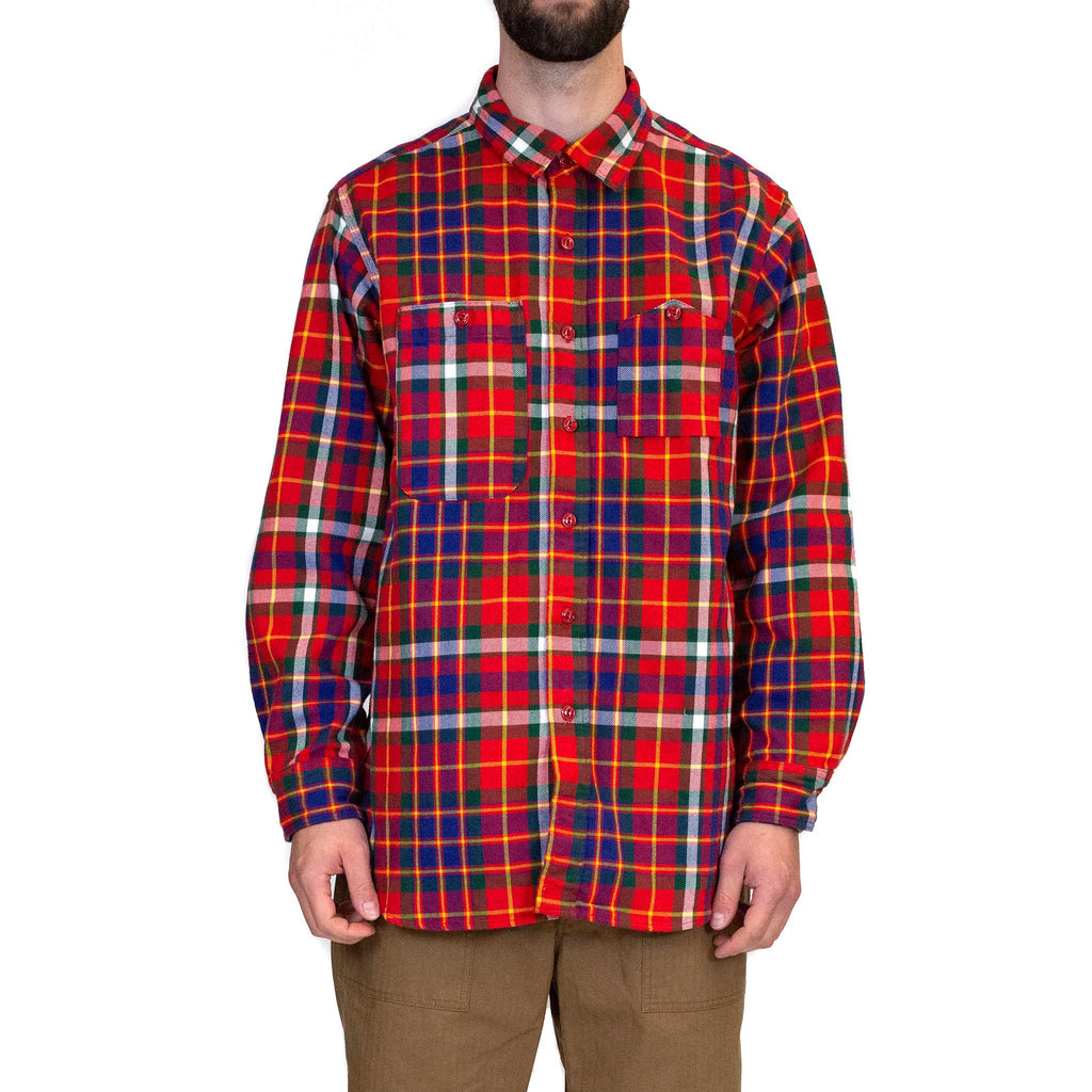 Engineered Garments Work Shirt Red Green Yellow Cotton Twill Plaid