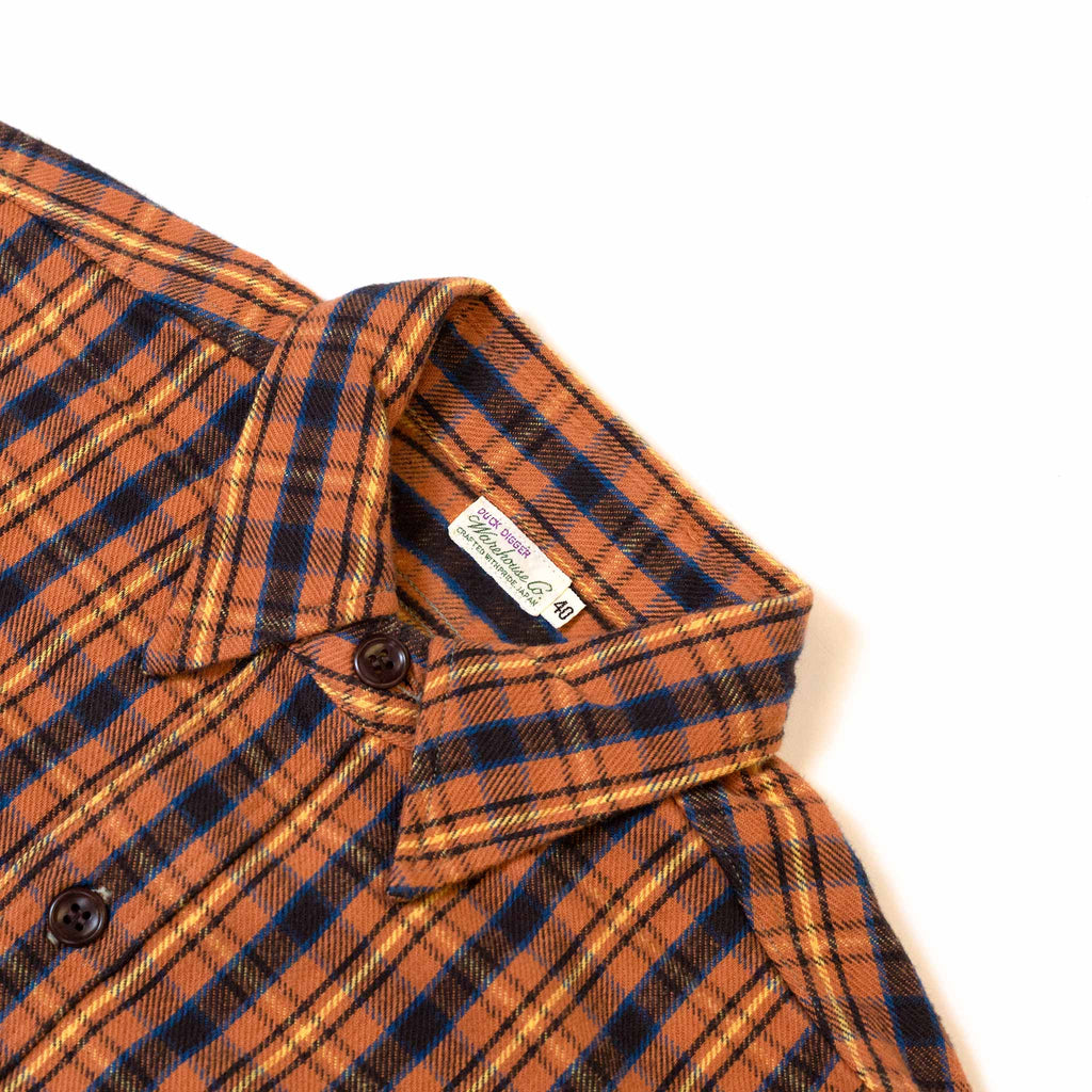 Warehouse Flannel Shirt With Chin Strap 3022 Salmon One Wash Detail