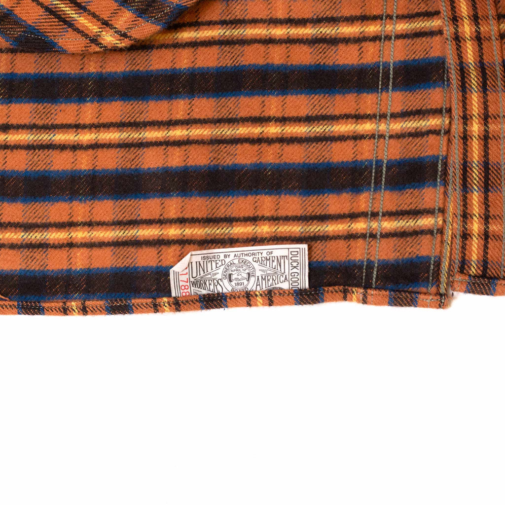 Warehouse Flannel Shirt With Chin Strap 3022 Salmon One Wash Tag