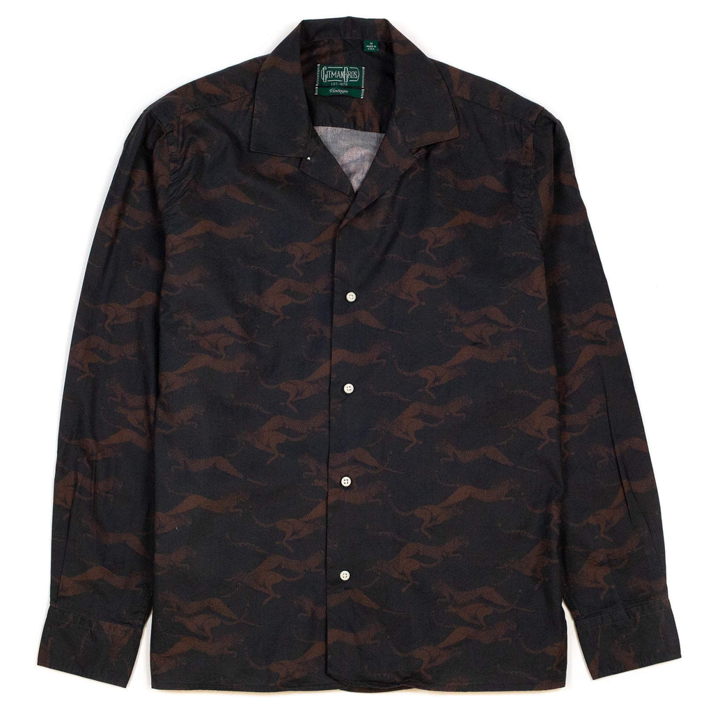 Gitman Vintage Bros. Cheetah Poplin Print Camp Collar Shirt Green