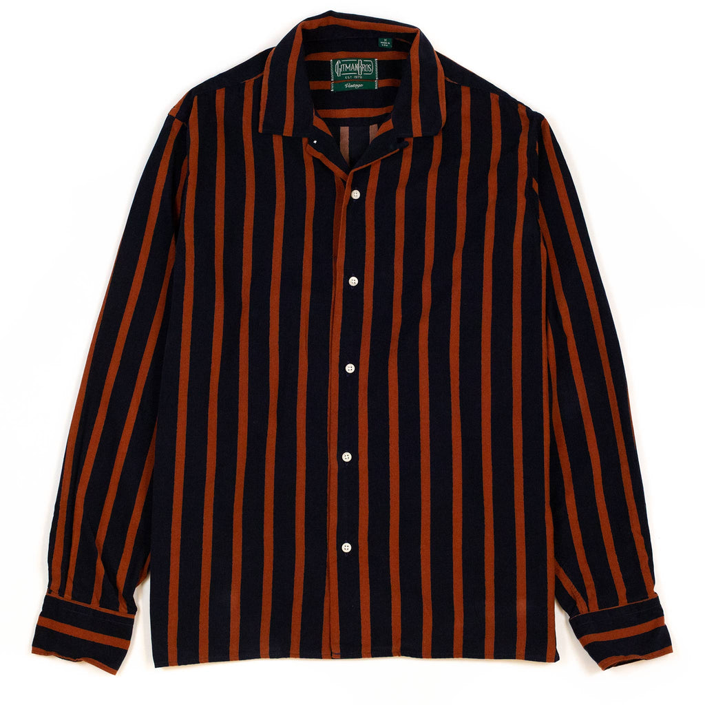 Gitman Vintage Bros. Wavy Corduroy Stripe Camp Collar Shirt Red
