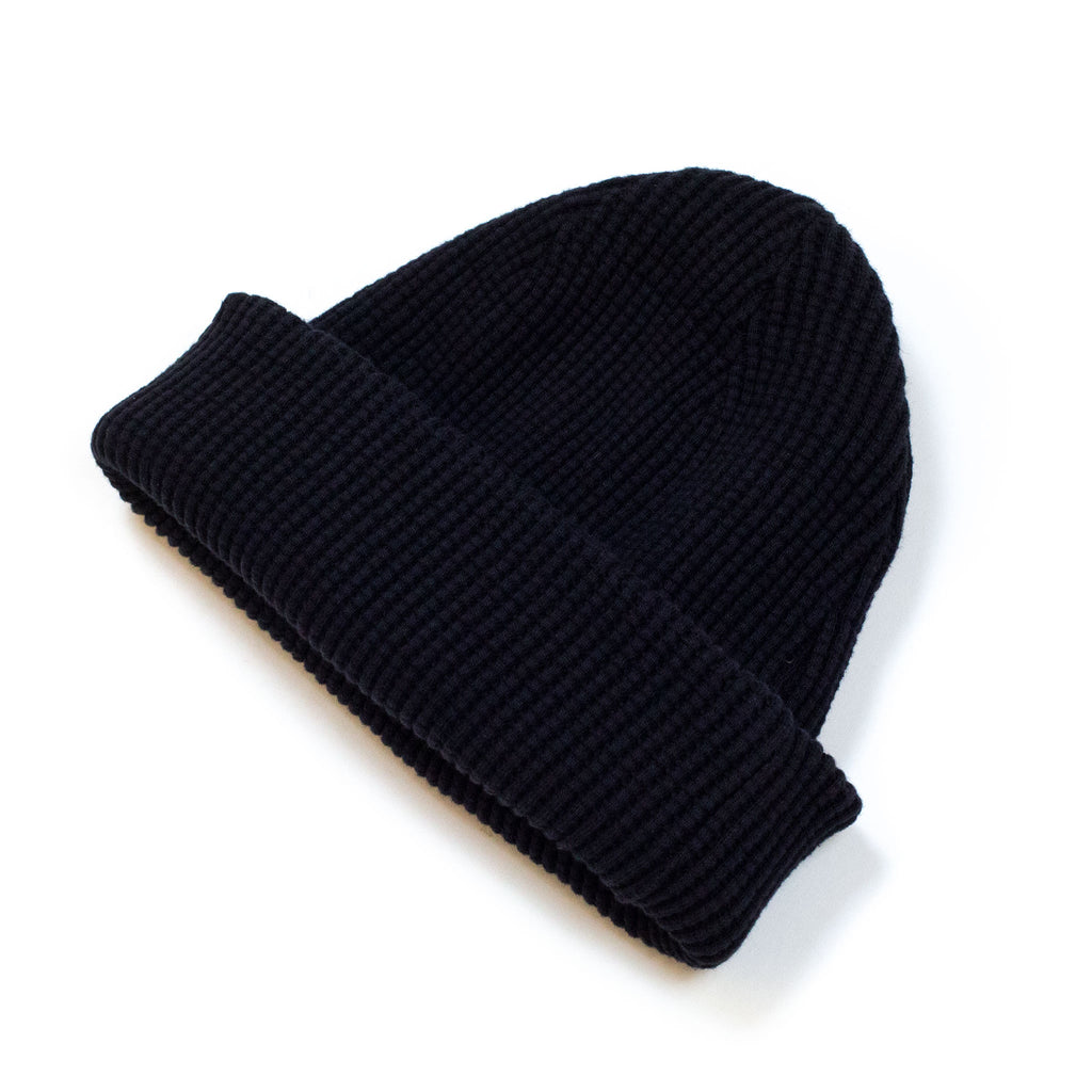 Homespun Thermal Knit Cap Bulky Waffle Black