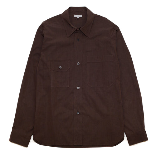 Margaret Howell Odd Pocket Shirt End On End Cotton Brown