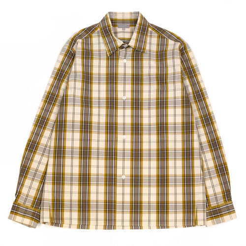 Margaret Howell Oversized Shirt Graphic Check Cotton Off White/Dijon