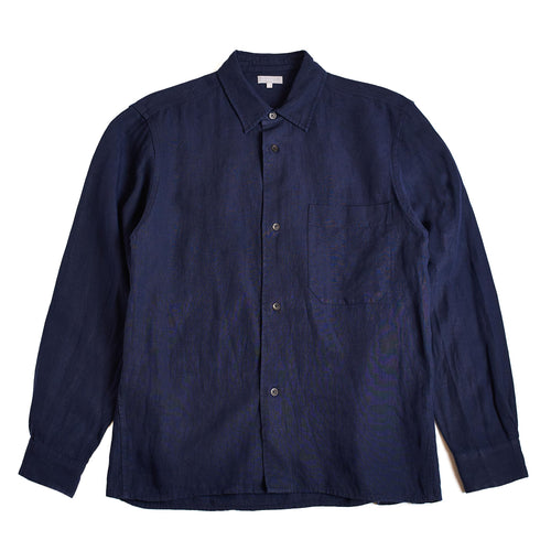 Margaret Howell Oversized Shirt Superfine Compact Linen Indigo