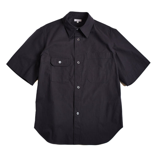Margaret Howell Short Sleeve Odd Pocket Shirt Dense Cotton End On End Black