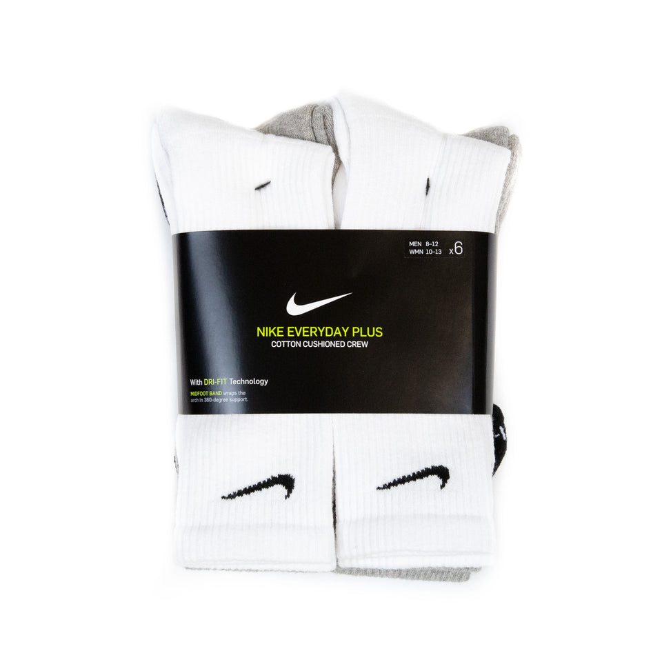 Nike DRI-FIT Everyday Plus Cushion Crew Socks White/Black/Grey (6 Pack)